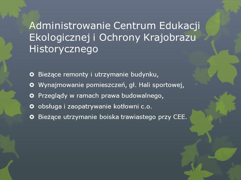 Administrowanie Centrum Edukacji Ekologicznej i Ochrony Krajobrazu Historycznego Bieżące remonty i utrzymanie budynku, Wynajmowanie pomieszczeń, gł.