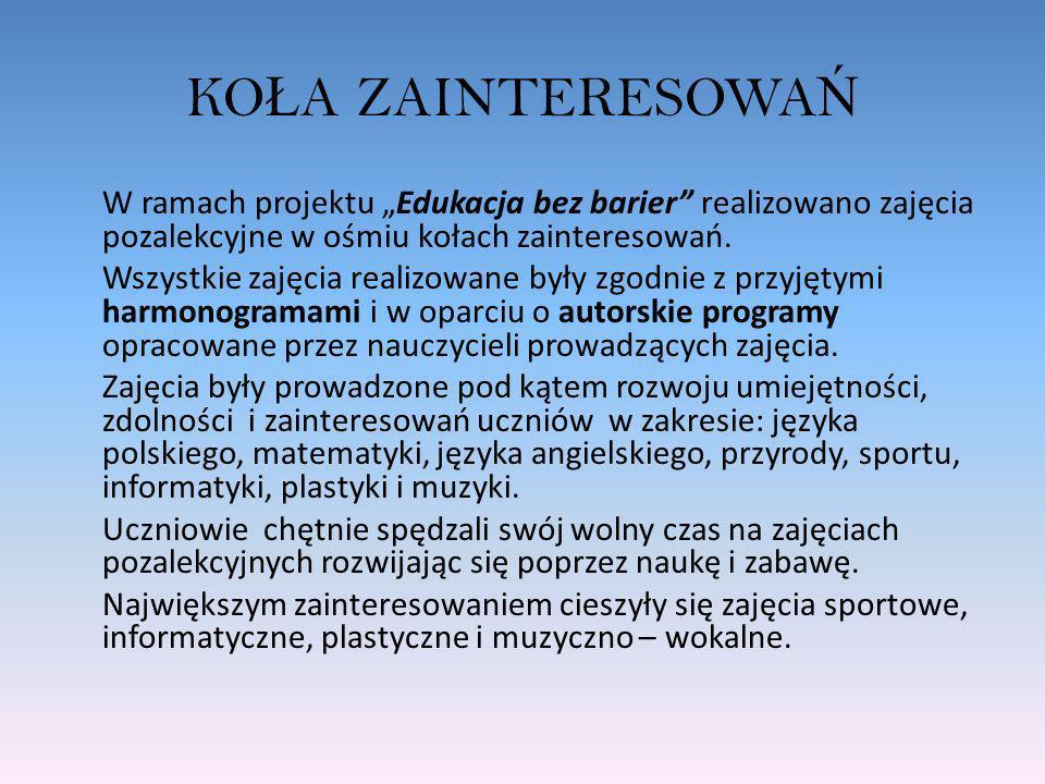 KO Ł A ZAINTERESOWA Ń W ramach projektu Edukacja bez barier realizowano zajęcia pozalekcyjne w ośmiu kołach zainteresowań. Wszystkie zajęcia realizowa