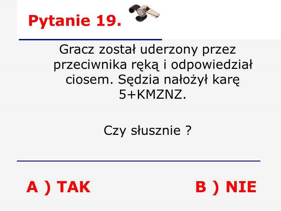 Pytanie 19. A ) TAKB ) NIE Gracz został uderzony przez przeciwnika ręką i odpowiedział ciosem.