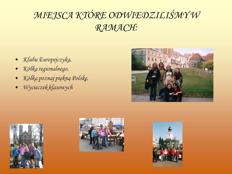 MIEJSCA KTÓRE ODWIEDZILIŚMY W RAMACH: Klubu Europejczyka, Kółka regionalnego, Kółka poznaj piękną Polskę, Wycieczek klasowych