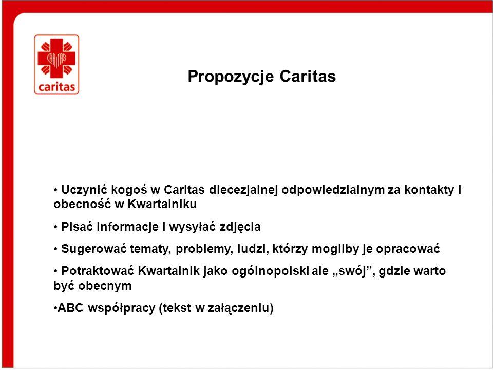 Propozycje Caritas Uczynić kogoś w Caritas diecezjalnej odpowiedzialnym za kontakty i obecność w Kwartalniku Pisać informacje i wysyłać zdjęcia Sugero