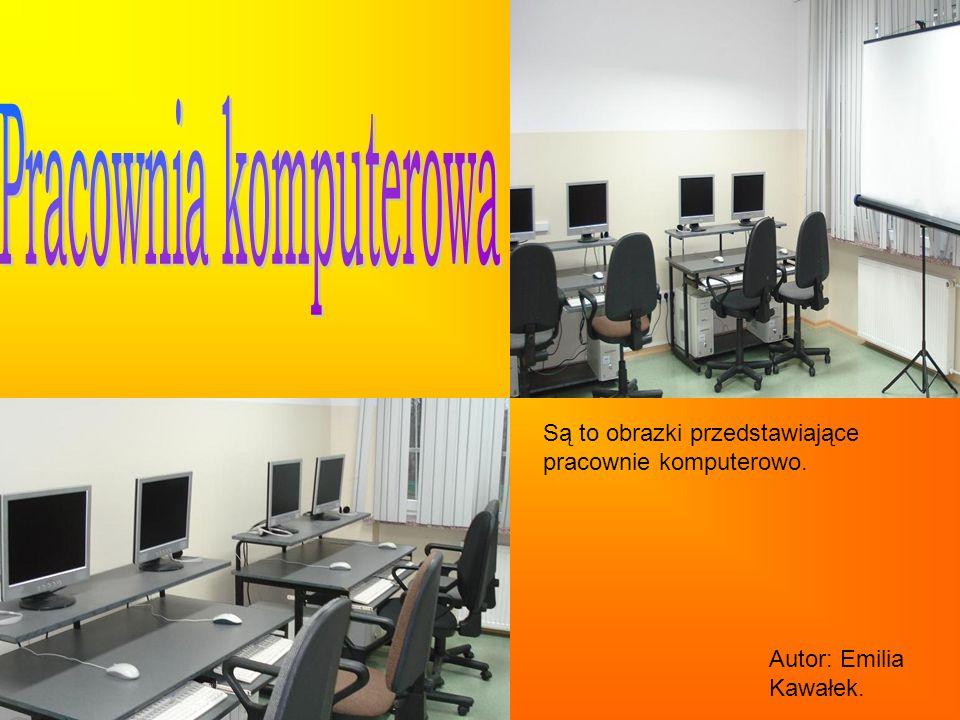 Są to obrazki przedstawiające pracownie komputerowo. Autor: Emilia Kawałek.