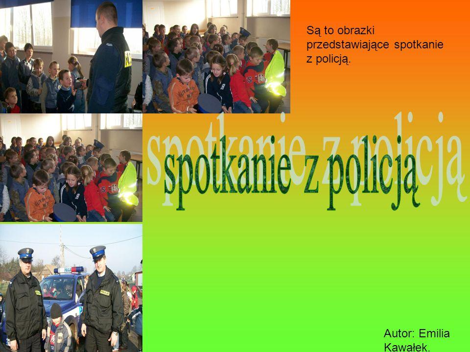 Są to obrazki przedstawiające spotkanie z policją. Autor: Emilia Kawałek.