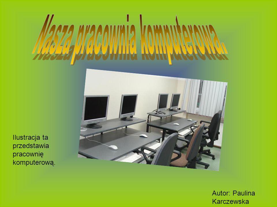 Ilustracja ta przedstawia pracownię komputerową.