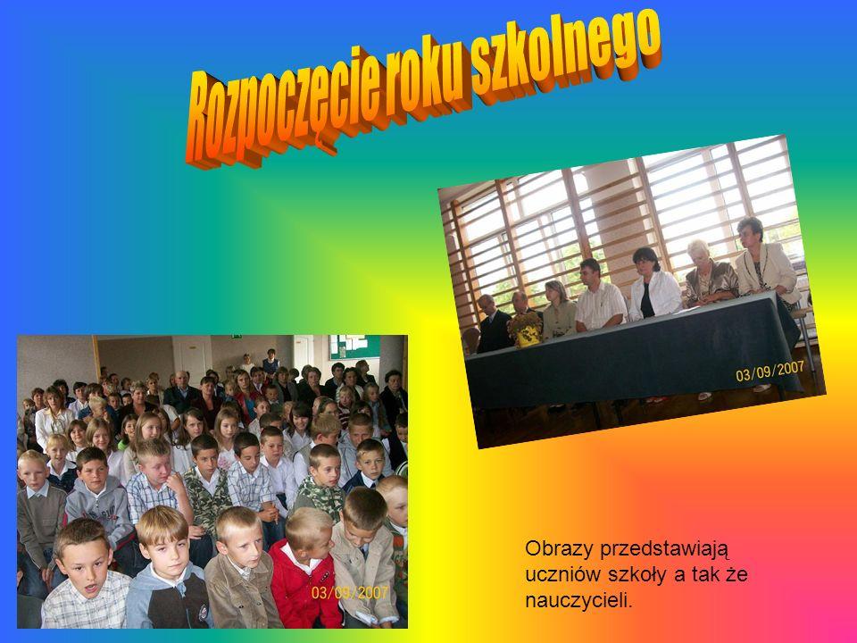 Obrazy przedstawiają uczniów szkoły a tak że nauczycieli.