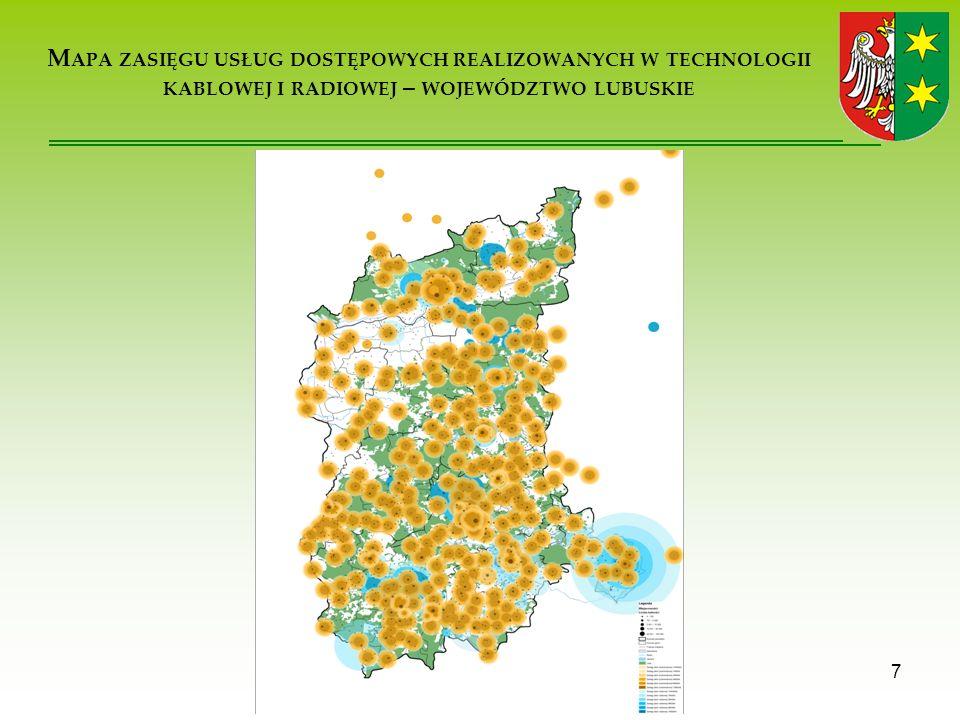 D EFINICJE BSC ( BIAŁY, SZARY, CZARNY ) 8 obszary białe – całkowity brak infrastruktury szkieletowo-dystrybucyjnej (punktów dystrybucyjnych) niezbędnej do zapewnienia podaży usług szerokopasmowego dostępu do Internetu na założonym poziomie.