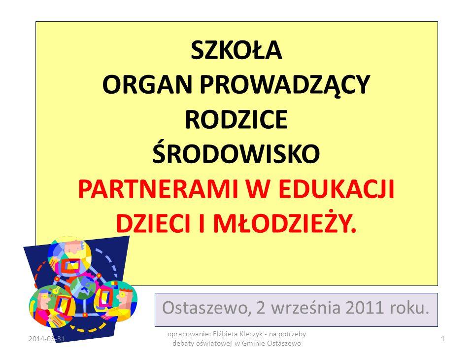 SZKOŁA ORGAN PROWADZĄCY RODZICE ŚRODOWISKO PARTNERAMI W EDUKACJI DZIECI I MŁODZIEŻY. Ostaszewo, 2 września 2011 roku. 2014-03-311 opracowanie: Elżbiet