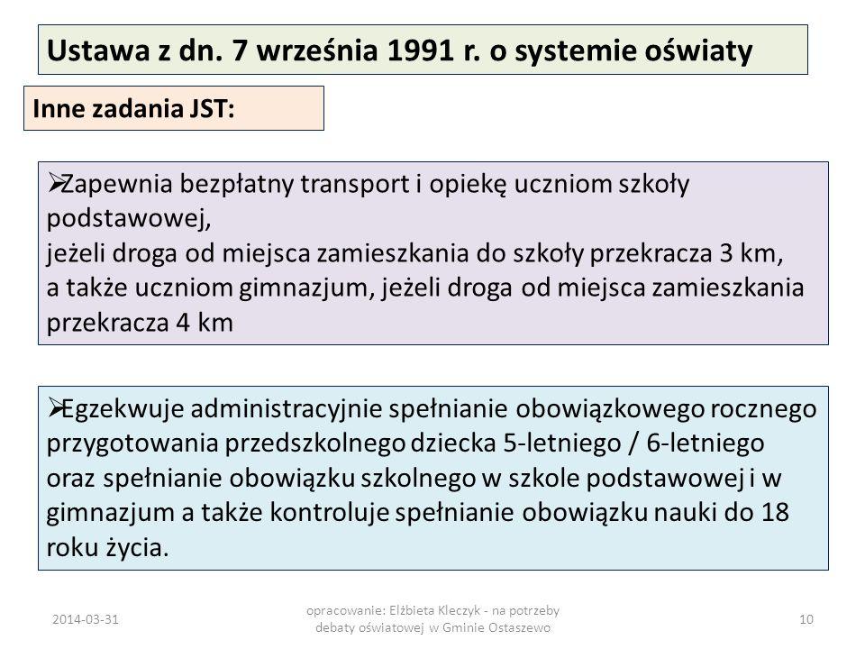Ustawa z dn. 7 września 1991 r. o systemie oświaty Inne zadania JST: Zapewnia bezpłatny transport i opiekę uczniom szkoły podstawowej, jeżeli droga od