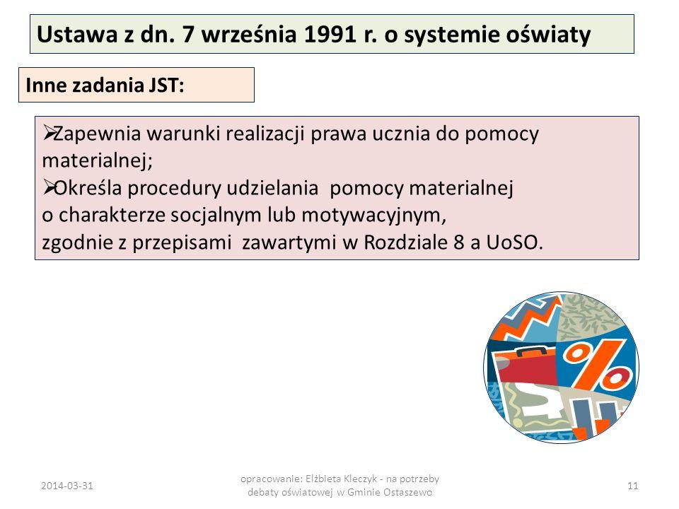 Ustawa z dn. 7 września 1991 r. o systemie oświaty Inne zadania JST: Zapewnia warunki realizacji prawa ucznia do pomocy materialnej; Określa procedury