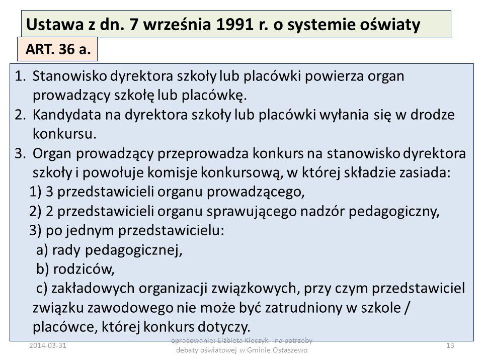 Ustawa z dn. 7 września 1991 r. o systemie oświaty ART. 36 a. 1.Stanowisko dyrektora szkoły lub placówki powierza organ prowadzący szkołę lub placówkę