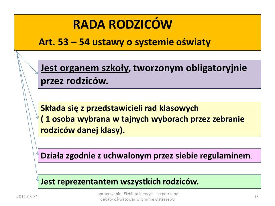 RADA RODZICÓW Art. 53 – 54 ustawy o systemie oświaty Jest organem szkoły, tworzonym obligatoryjnie przez rodziców. Składa się z przedstawicieli rad kl
