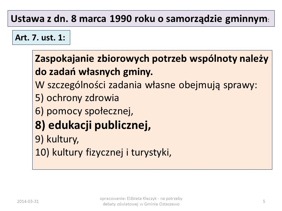 Ustawa z dn. 8 marca 1990 roku o samorządzie gminnym : Art. 7. ust. 1: Zaspokajanie zbiorowych potrzeb wspólnoty należy do zadań własnych gminy. W szc