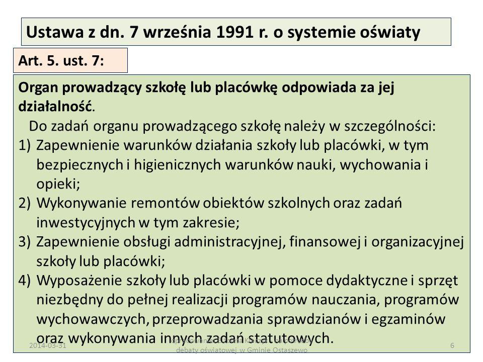 Ustawa z dn. 7 września 1991 r. o systemie oświaty Art. 5. ust. 7: Organ prowadzący szkołę lub placówkę odpowiada za jej działalność. Do zadań organu