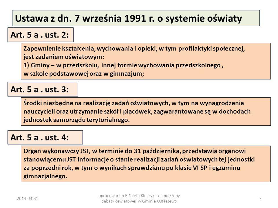 Ustawa z dn. 7 września 1991 r. o systemie oświaty Art. 5 a. ust. 2: Zapewnienie kształcenia, wychowania i opieki, w tym profilaktyki społecznej, jest