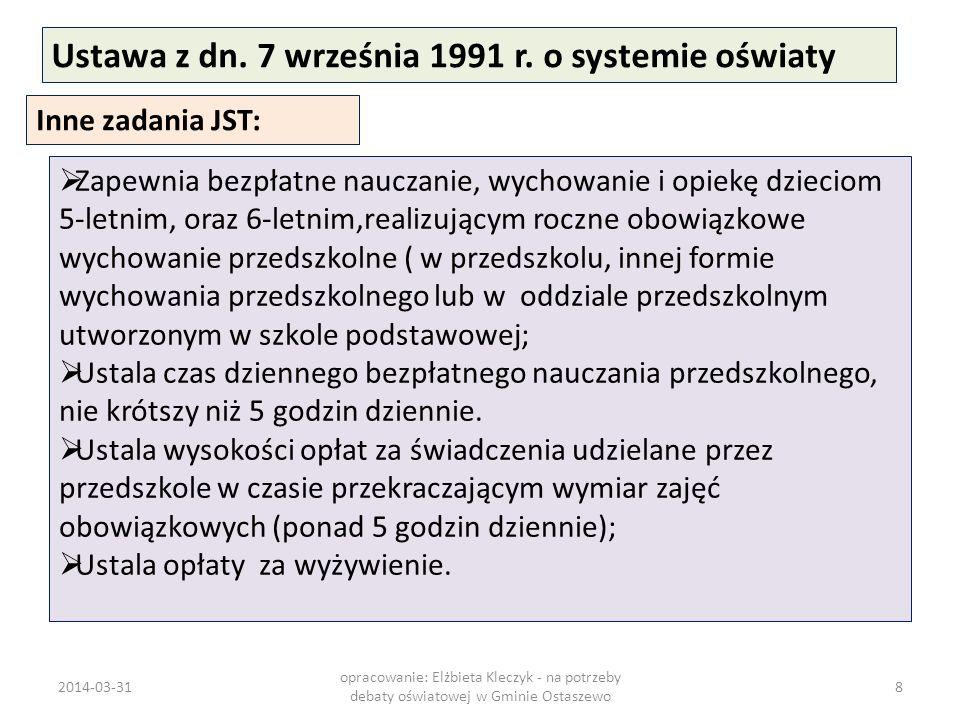Ustawa z dn. 7 września 1991 r. o systemie oświaty Inne zadania JST: Zapewnia bezpłatne nauczanie, wychowanie i opiekę dzieciom 5-letnim, oraz 6-letni