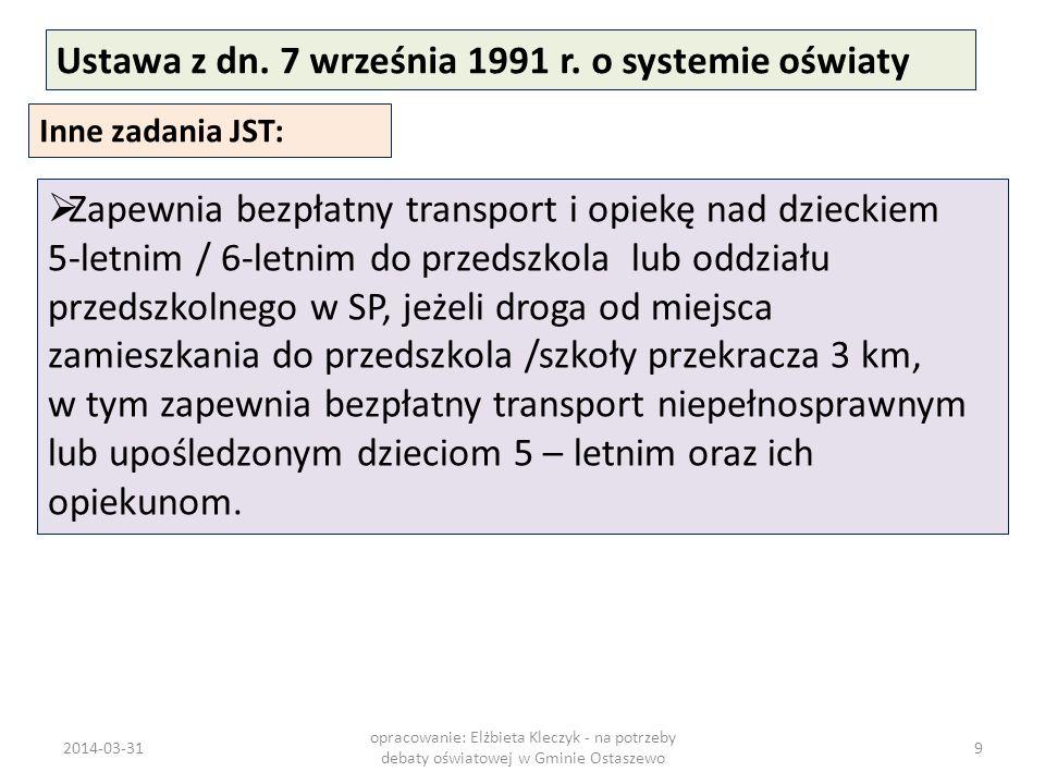 Ustawa z dn. 7 września 1991 r. o systemie oświaty Inne zadania JST: Zapewnia bezpłatny transport i opiekę nad dzieckiem 5-letnim / 6-letnim do przeds