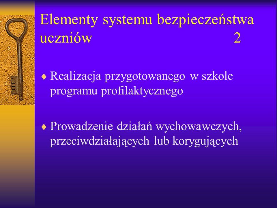 Elementy systemu bezpieczeństwa uczniów2 Realizacja przygotowanego w szkole programu profilaktycznego Prowadzenie działań wychowawczych, przeciwdziałających lub korygujących