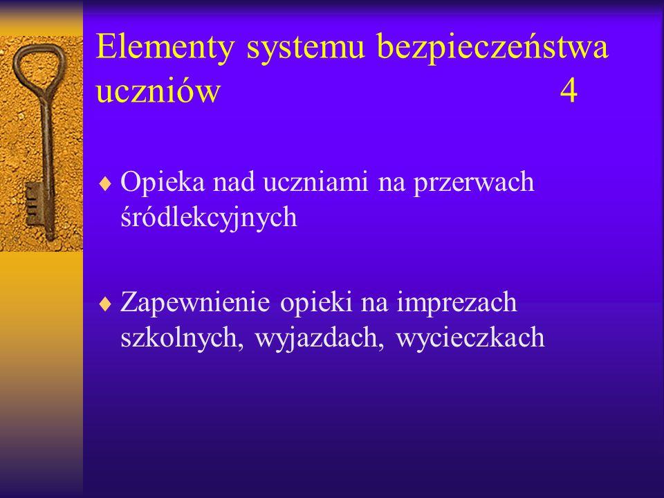 Elementy systemu bezpieczeństwa uczniów4 Opieka nad uczniami na przerwach śródlekcyjnych Zapewnienie opieki na imprezach szkolnych, wyjazdach, wycieczkach