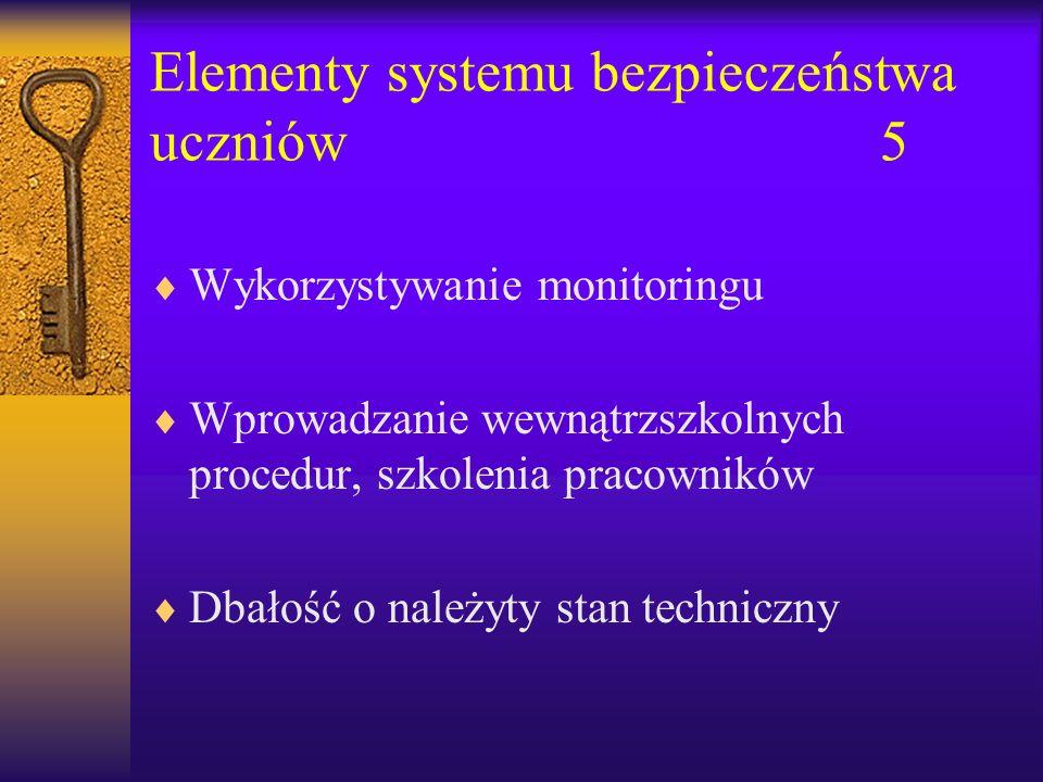 Elementy systemu bezpieczeństwa uczniów5 Wykorzystywanie monitoringu Wprowadzanie wewnątrzszkolnych procedur, szkolenia pracowników Dbałość o należyty stan techniczny