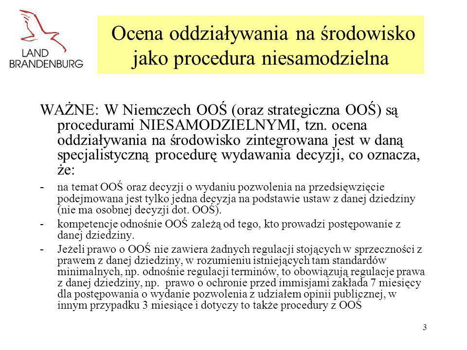 3 Ocena oddziaływania na środowisko jako procedura niesamodzielna WAŻNE: W Niemczech OOŚ (oraz strategiczna OOŚ) są procedurami NIESAMODZIELNYMI, tzn.