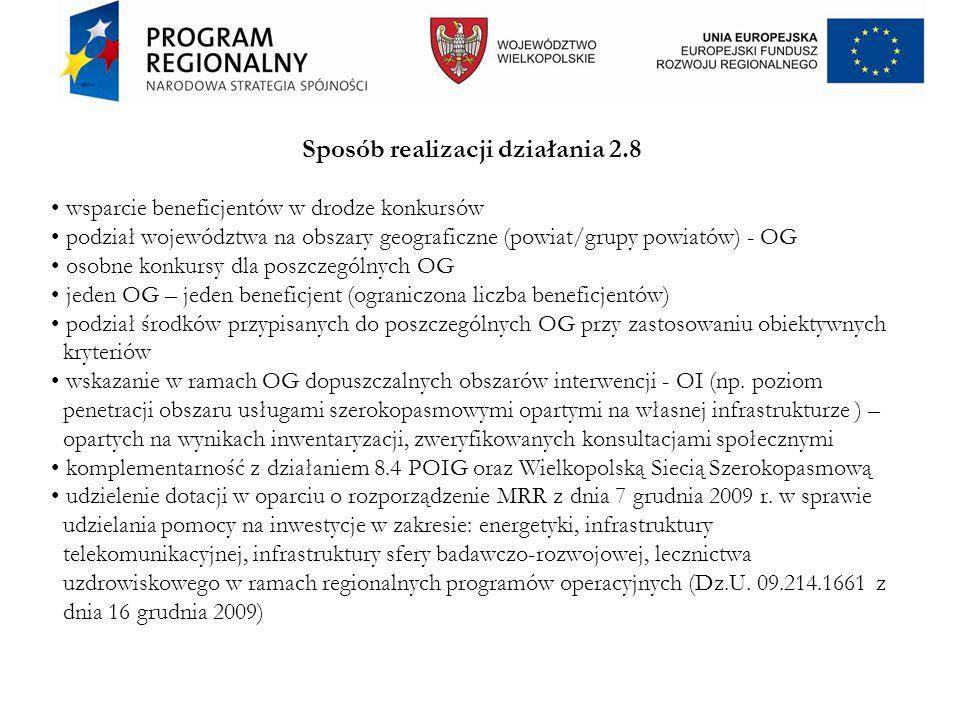 Sposób realizacji działania 2.8 wsparcie beneficjentów w drodze konkursów podział województwa na obszary geograficzne (powiat/grupy powiatów) - OG oso