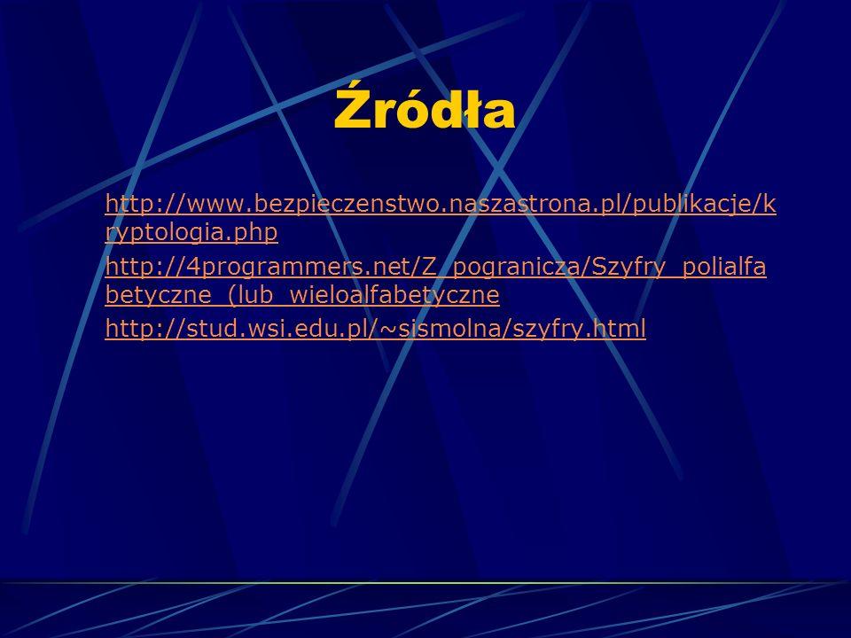 Źródła http://www.bezpieczenstwo.naszastrona.pl/publikacje/k ryptologia.php http://4programmers.net/Z_pogranicza/Szyfry_polialfa betyczne_(lub_wieloal
