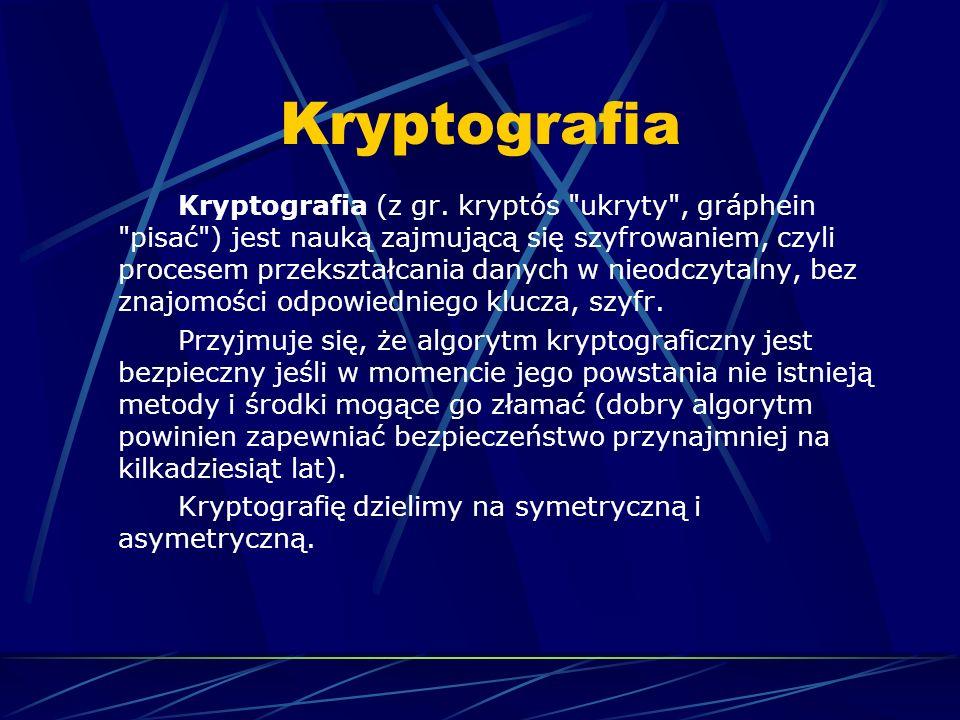 Szyfrowanie symetryczne Klucz tajny (symetryczny) to klucz mający zastosowanie w jednokluczowych systemach kryptograficznych wykorzystujących symetryczne algorytmy kryptograficzne.