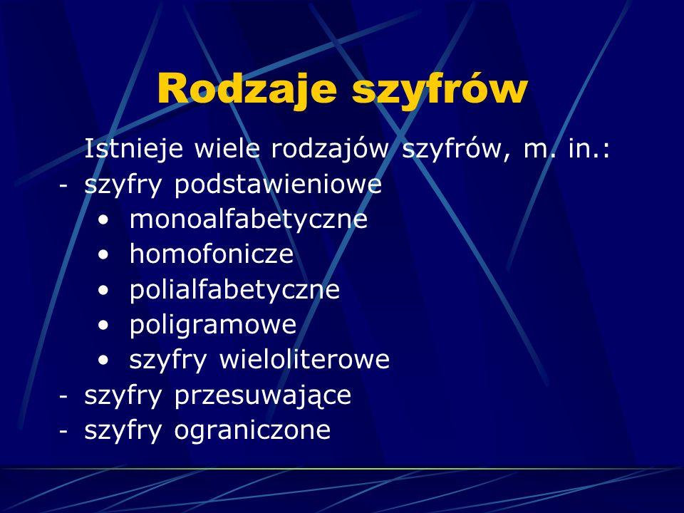 Szyfry podstawieniowe Szyfry podstawieniowe to szyfry, których działanie opiera się na podstawianiu pod znaki alfabetu jawnego znaków alfabetu szyfrowego, zawsze więc mamy do czynienia z dwoma alfabetami.