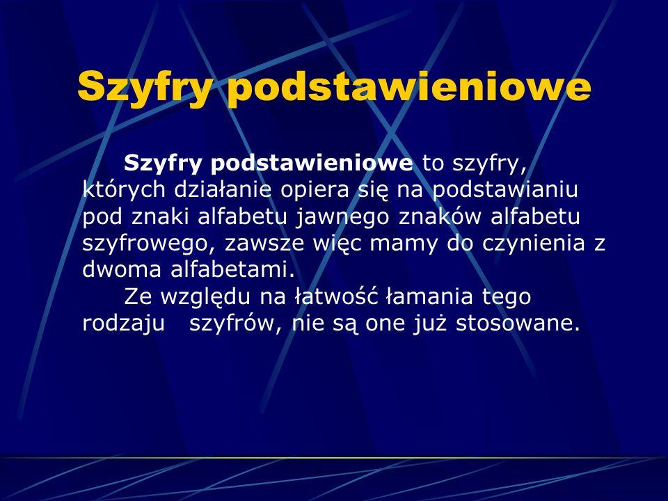 Szyfry podstawieniowe Szyfry podstawieniowe to szyfry, których działanie opiera się na podstawianiu pod znaki alfabetu jawnego znaków alfabetu szyfrow