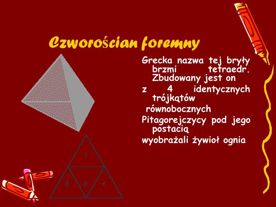 Czworo ś cian foremny Grecka nazwa tej bryły brzmi tetraedr. Zbudowany jest on z 4 identycznych trójkątów równobocznych Pitagorejczycy pod jego postac