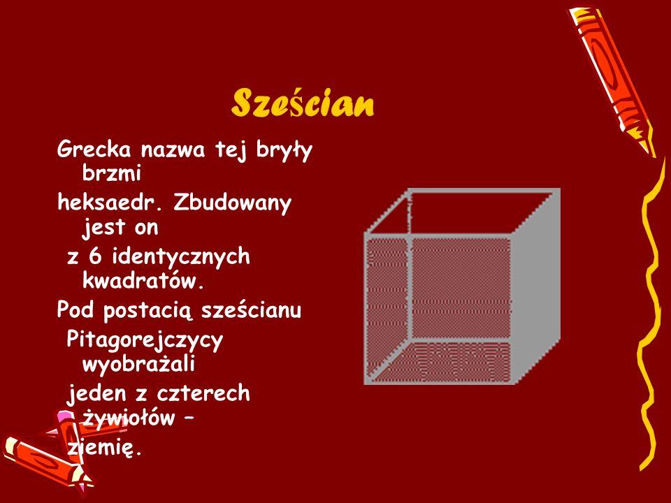 Sze ś cian Grecka nazwa tej bryły brzmi heksaedr. Zbudowany jest on z 6 identycznych kwadratów. Pod postacią sześcianu Pitagorejczycy wyobrażali jeden