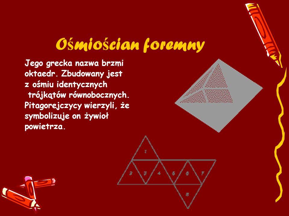 O ś mio ś cian foremny Jego grecka nazwa brzmi oktaedr. Zbudowany jest z ośmiu identycznych trójkątów równobocznych. Pitagorejczycy wierzyli, że symbo