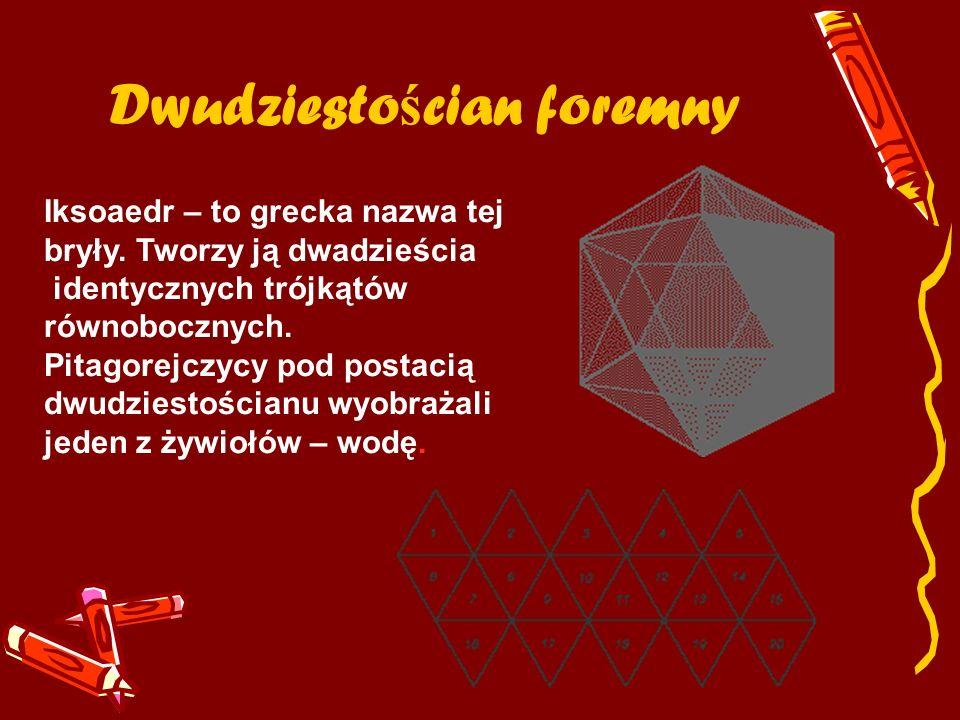 Dwudziesto ś cian foremny Iksoaedr – to grecka nazwa tej bryły. Tworzy ją dwadzieścia identycznych trójkątów równobocznych. Pitagorejczycy pod postaci