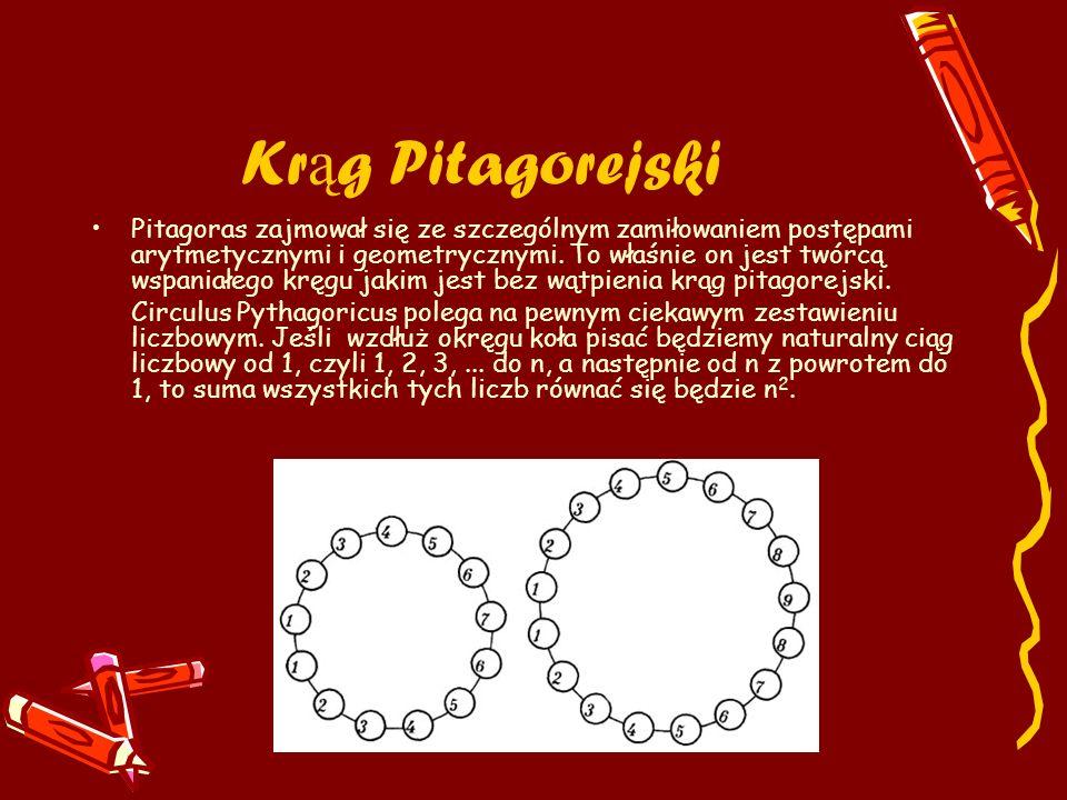 Kr ą g Pitagorejski Pitagoras zajmował się ze szczególnym zamiłowaniem postępami arytmetycznymi i geometrycznymi. To właśnie on jest twórcą wspaniałeg
