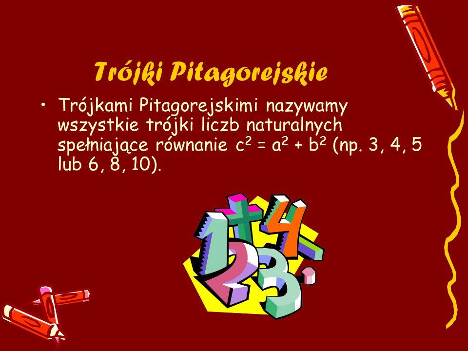 Trójki Pitagorejskie Trójkami Pitagorejskimi nazywamy wszystkie trójki liczb naturalnych spełniające równanie c 2 = a 2 + b 2 (np. 3, 4, 5 lub 6, 8, 1