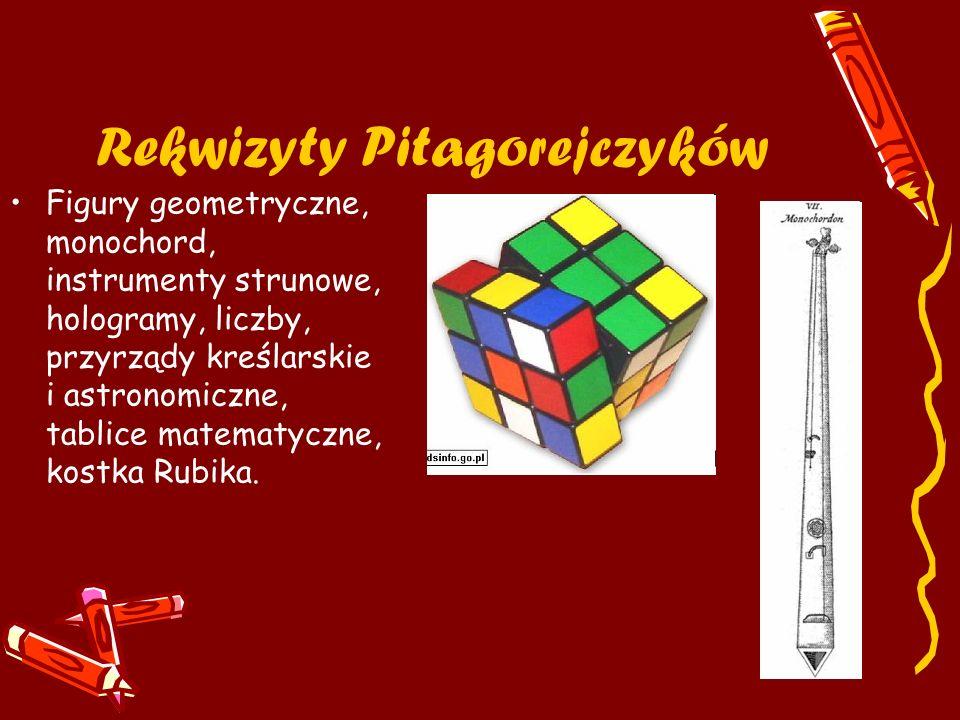 Rekwizyty Pitagorejczyków Figury geometryczne, monochord, instrumenty strunowe, hologramy, liczby, przyrządy kreślarskie i astronomiczne, tablice mate
