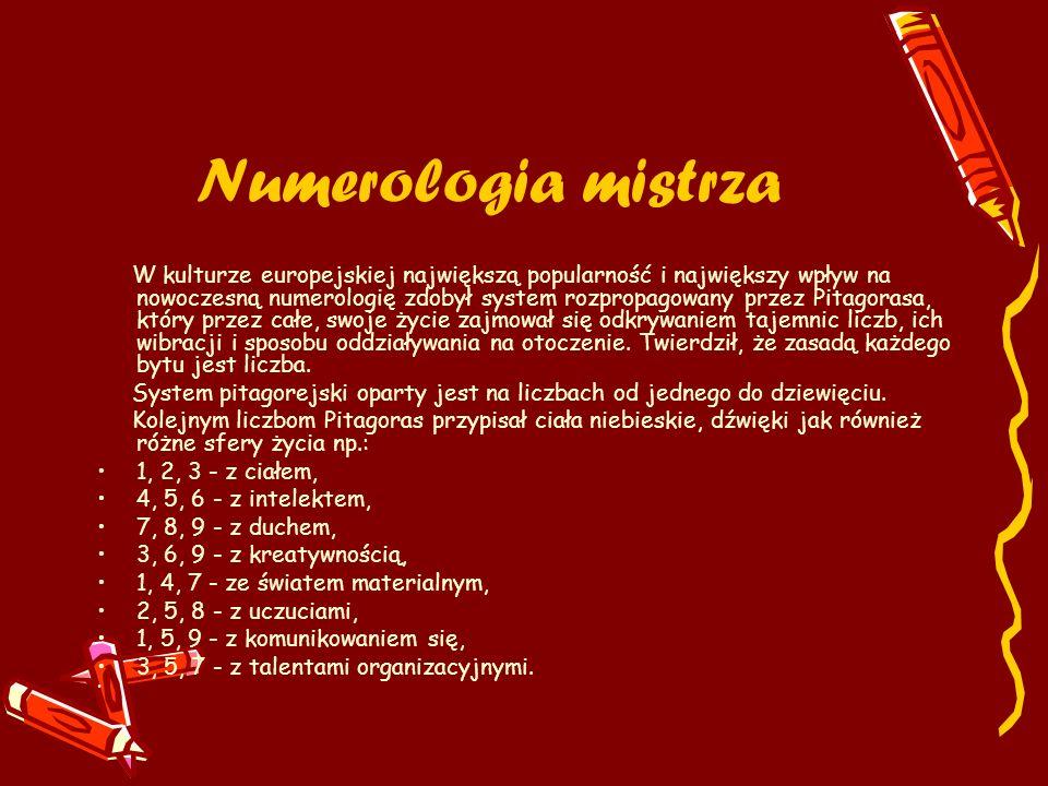 Numerologia mistrza W kulturze europejskiej największą popularność i największy wpływ na nowoczesną numerologię zdobył system rozpropagowany przez Pit