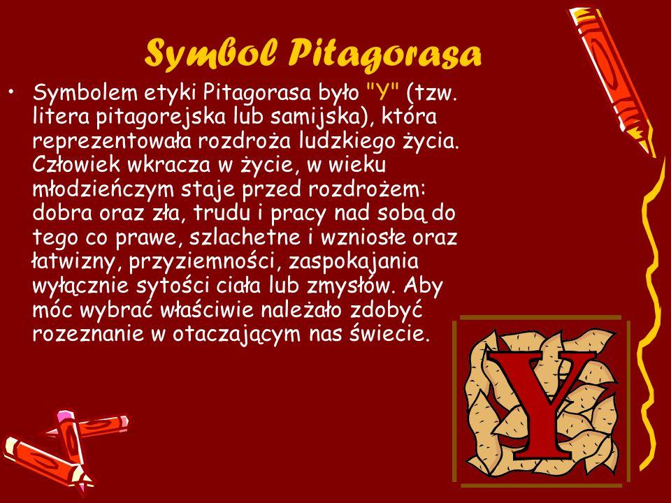 Rekwizyty Pitagorejczyków Figury geometryczne, monochord, instrumenty strunowe, hologramy, liczby, przyrządy kreślarskie i astronomiczne, tablice matematyczne, kostka Rubika.