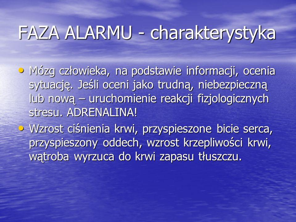 FAZA ALARMU - charakterystyka Mózg człowieka, na podstawie informacji, ocenia sytuację. Jeśli oceni jako trudną, niebezpieczną lub nową – uruchomienie