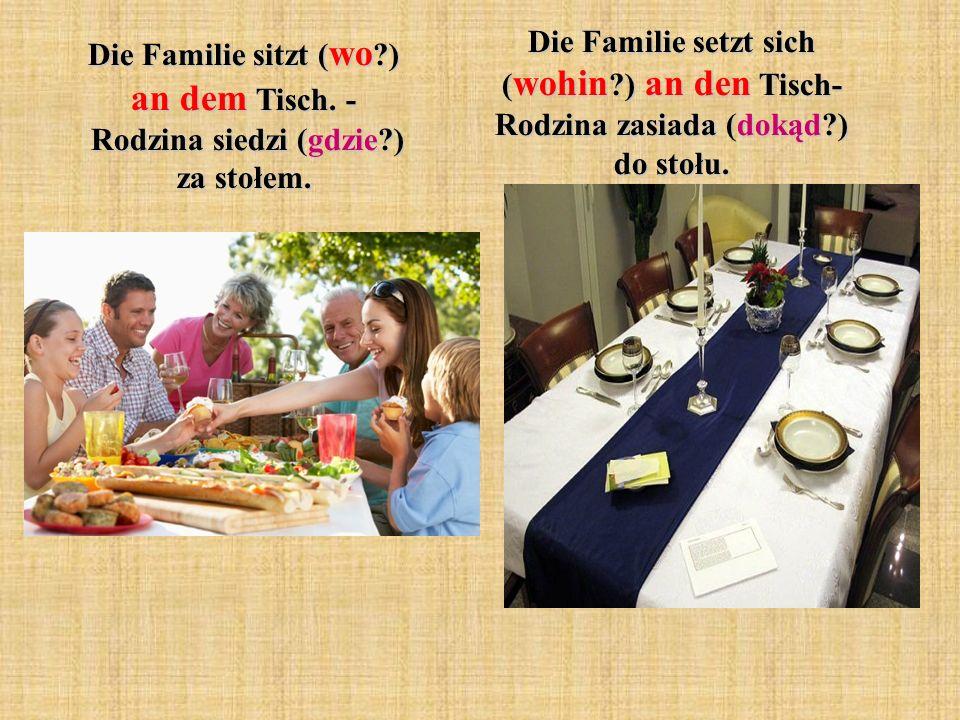 Die Familie sitzt ( wo ?) an dem Tisch.- Rodzina siedzi (gdzie?) za stołem.