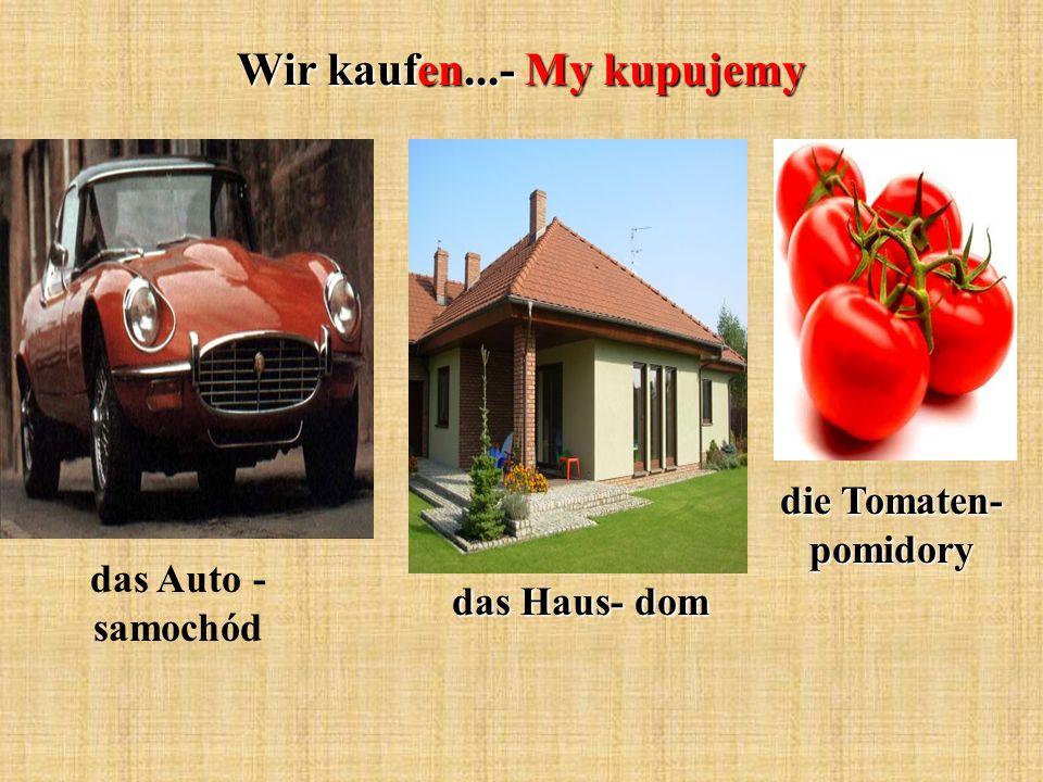 Wir kaufen...- My kupujemy das Auto - samochód das Haus- dom das Haus- dom die Tomaten- pomidory