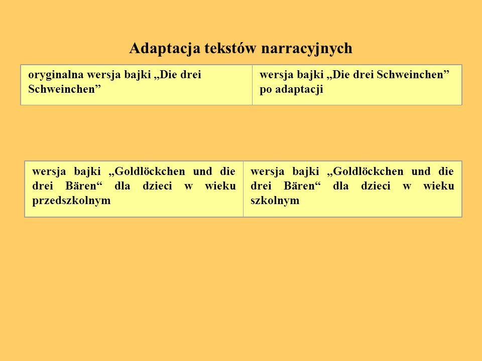 Adaptacja tekstów narracyjnych oryginalna wersja bajki Die drei Schweinchen wersja bajki Die drei Schweinchen po adaptacji wersja bajki Goldlöckchen u
