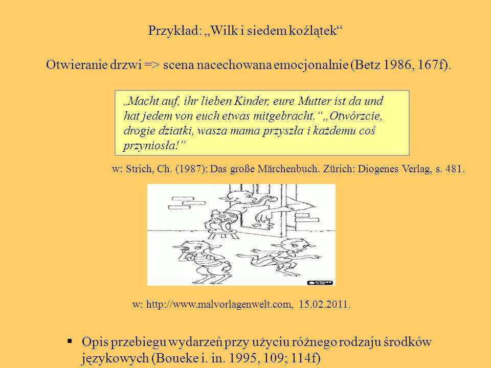 2.Teksty narracyjne znane dzieciom zarówno z ich własnego kręgu kulturowego jak i zupełnie nieznane historyjki (Gerngroß 1999, 30; Kubanek-German 1993, 53; Kubanek-German 1992, 14) 3.Treści zaczerpnięte nie tylko z najbliższego otoczenia dzieci ale również ze świata fikcyjnego (Gerngroß 1999, 30; Iluk 2002, 113).