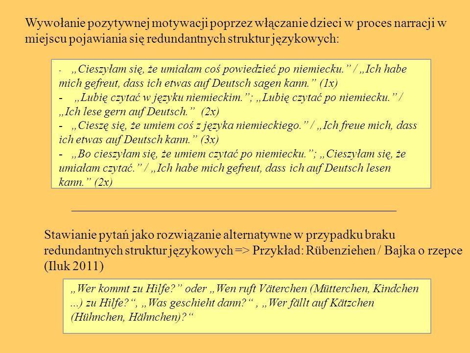 2.Występowanie dialogów (Dines 2002, 42; Muller 2004, 205) 3.Przekazywanie optymalnego inputu językowego (Groß 2002, 11) 4.Teksty odznaczające się autentycznością językową (Dopasowanie treści tekstów do poziomu rozwoju mentalnego dzieci) / (Kubanek- German 1993, 52; Iluk 2002, 114) 5.Duża częstotliwość użycia struktur językowych (Groß 2002, 12; Dines 2002, 36) Przykład: Goldlöckchen und die drei Bären -dom, meble: kitchen, table, chair, bedroom etc.