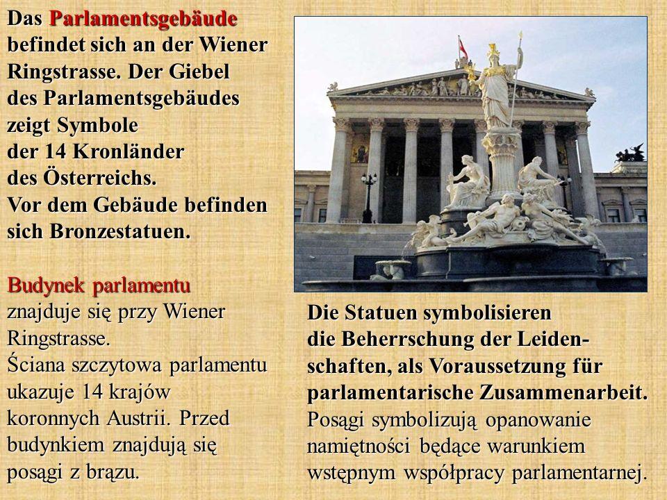 Das Parlamentsgebäude befindet sich an der Wiener Ringstrasse.