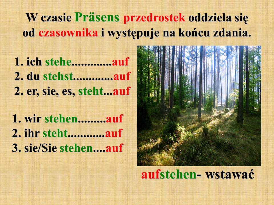 W czasie Präsens przedrostek oddziela się od czasownika i występuje na końcu zdania. 1. ich stehe.............auf 2. du stehst.............auf 2. er,