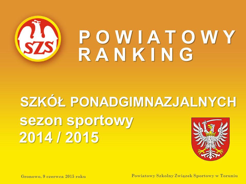 Gronowo, 9 czerwca 2015 roku Powiatowy Szkolny Związek Sportowy w Toruniu P O W I A T O W Y R A N K I N G SZKÓŁ PONADGIMNAZJALNYCH 2014 / 2015 sezon sportowy