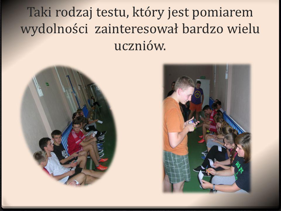 Taki rodzaj testu, który jest pomiarem wydolności zainteresował bardzo wielu uczniów.