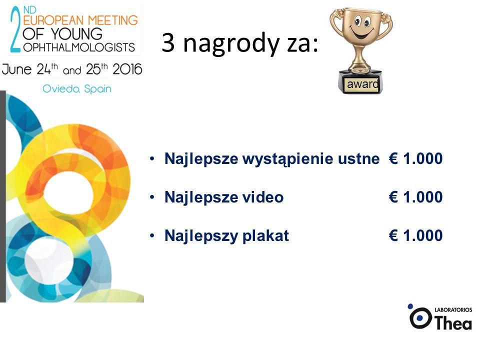 3 nagrody za: Najlepsze wystąpienie ustne € 1.000 Najlepsze video € 1.000 Najlepszy plakat€ 1.000 award