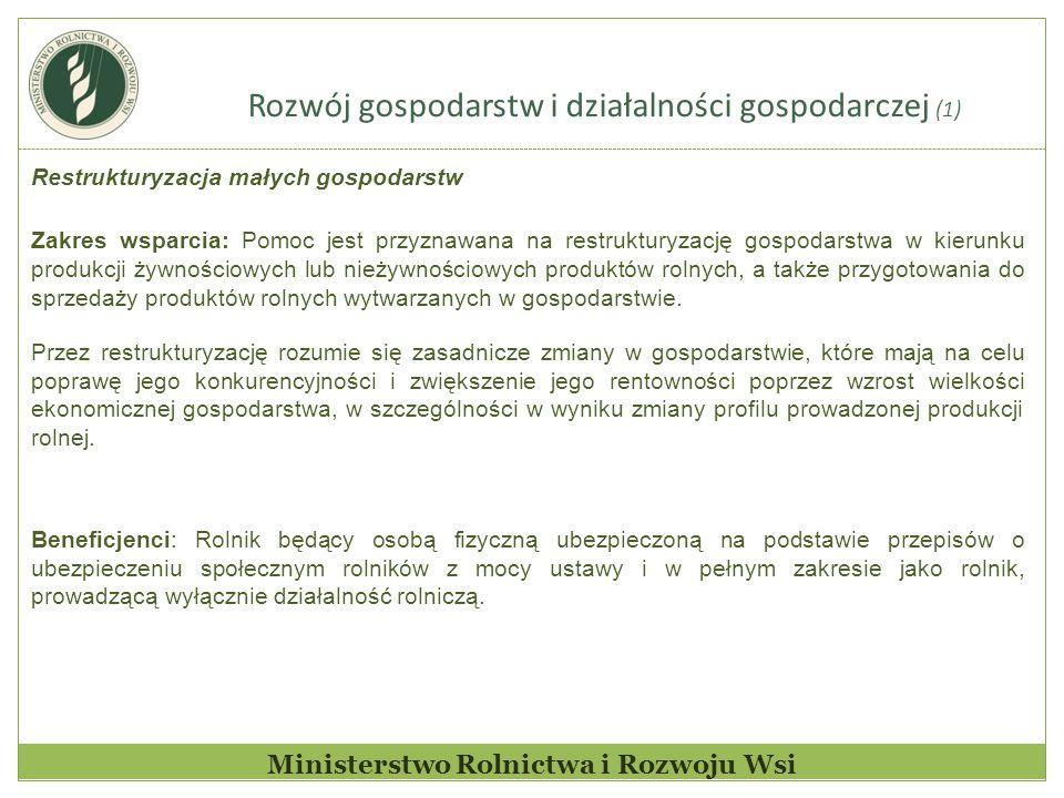Rozwój gospodarstw i działalności gospodarczej (1) Ministerstwo Rolnictwa i Rozwoju Wsi Restrukturyzacja małych gospodarstw Zakres wsparcia: Pomoc jes